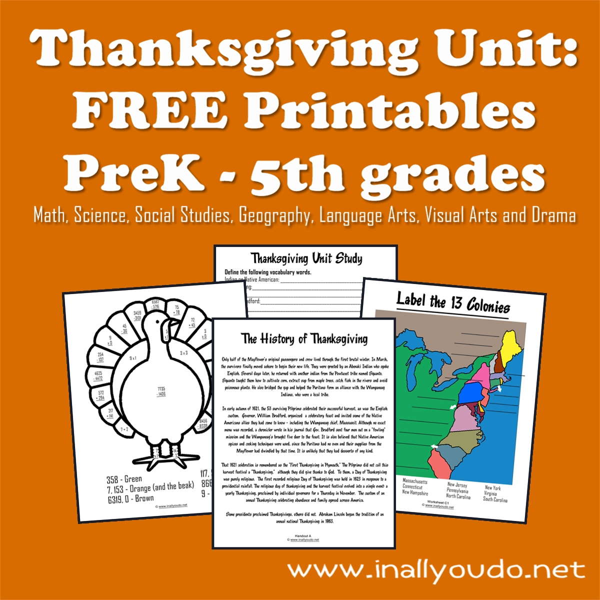 Thanksgiving Unit: FREE Printables {PreK-5th}