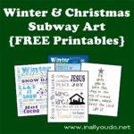 Winter & Christmas Subway Art {FREE Printables}