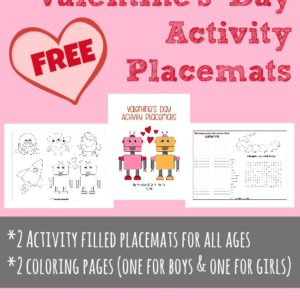 These Valentine's Day themed Activity Placemats are a great way to occupy kids at the dinner table, bring some fun to your homeschool lunch or just because! This set includes 2 coloring pages, a word search, anagram activity and more! :: www.inallyoudo.net