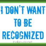 I Don't Want To Be Recognized