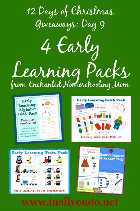 12 Days of Giveaways: Day 9 ~ 4 Early Learning Packs from E.H.M.