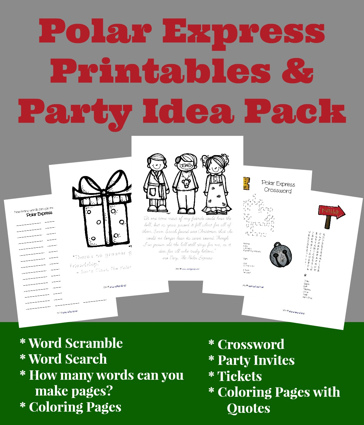 This FUN Polar Express Printables & Party Idea Pack has all you need to have a successful and SUPER FUN Polar Express Party. :: www.inallyoudo.net