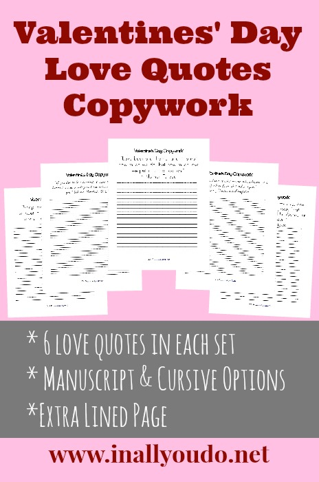 FREE Valentines Day Love Quotes Copywork2