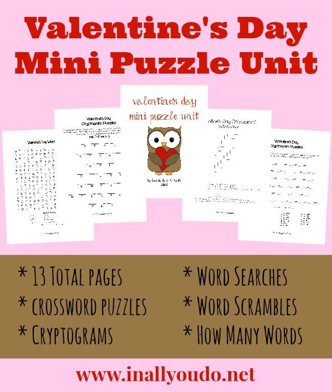 Valentine S Day Mini Puzzle Unit Prek 5
