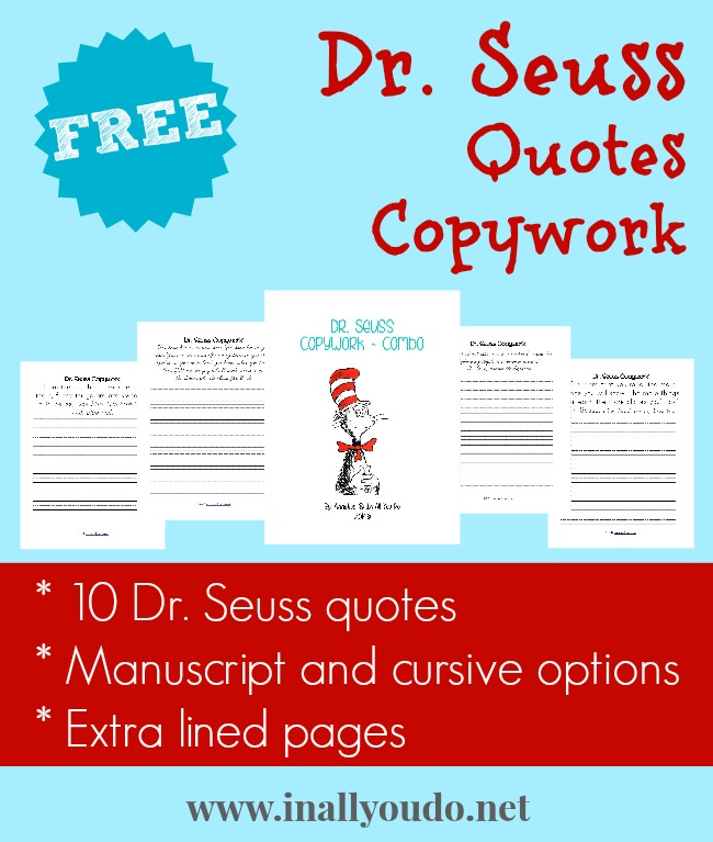 Dr Seuss Inspired Copywork