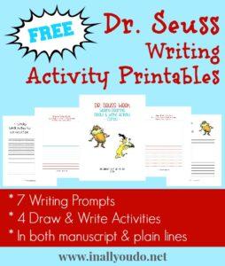 FREE Dr Seuss Writing Activity Printables