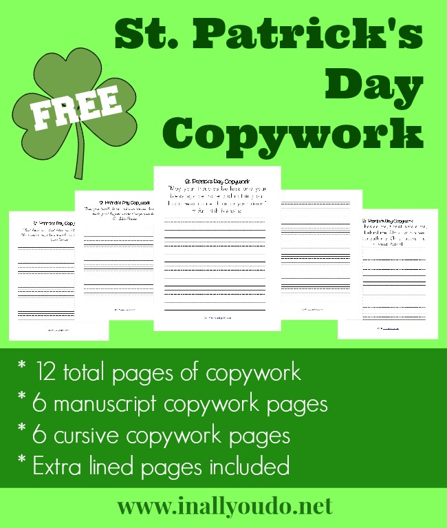 FREEBIES St Patricks Day Copywork