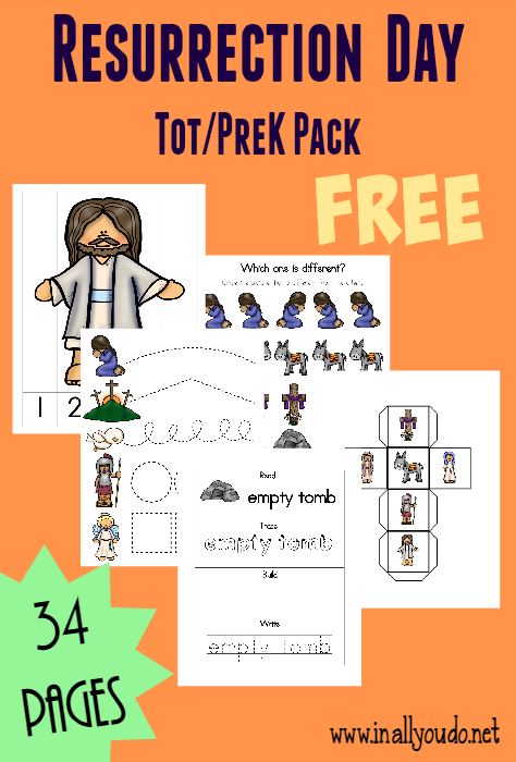 This fun Resurrection Day Tot & PreK/K Pack is the perfect way to get kids thinking and talking about the Resurrection at an early age!! Includes 34 pages of activities! :: www.inallyoudo.net