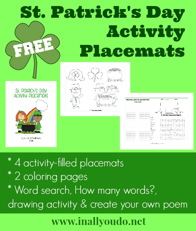 St Patricks Day Activity Placemat FREEBIES