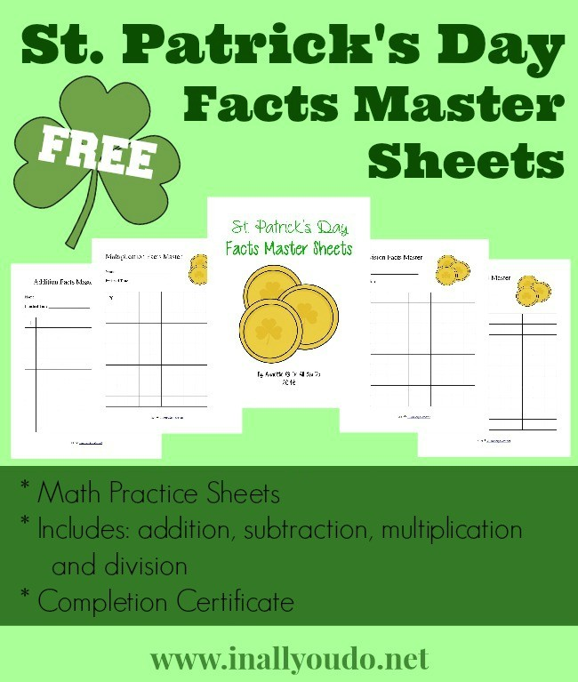 NEW St Patricks Day Math Facts Master Sheets free In
