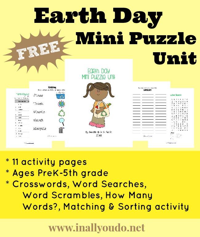 FREE Earth Day Mini Puzzle Unit