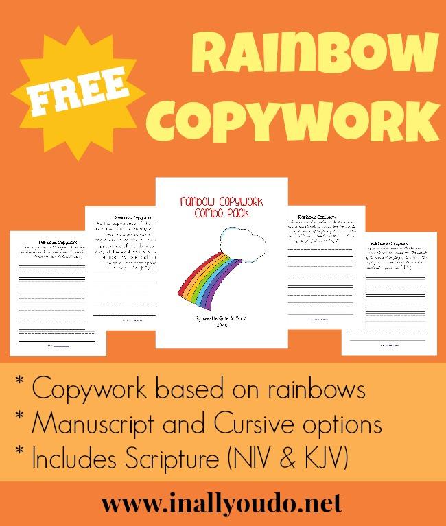FREE Rainbow Copywork