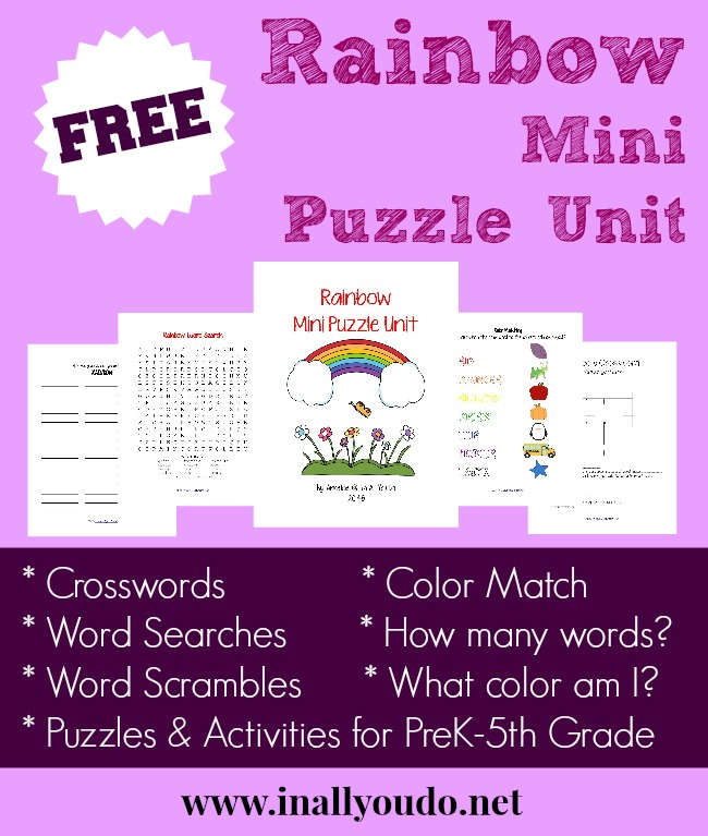 This FREE Rainbow Mini Puzzle Unit is a wonderful addition to your SPRING studies and printables! Includes 10 pages of FUN!! :: www.inallyoudo.net