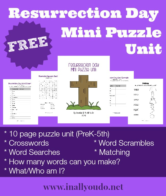 This FREE Resurrection Day Mini Puzzle Unit has 10 pages of puzzles and activities for kids PreK-5th grade. It is perfect for any homeschool unit, or in a church setting. :: www.inallyoudo.net