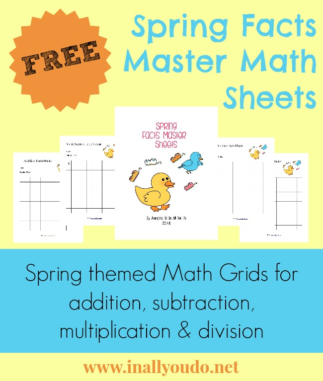 free} Spring Facts Master Math Sheets