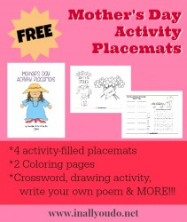 {free} Mother's Day Activity Placemats