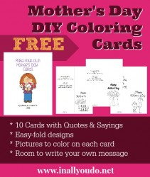 {free} Mother's Day DIY Coloring Cards