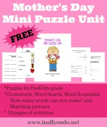 {free} Mother's Day Mini Puzzle Unit