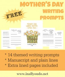 Mother's Day Writing Prompts {free}