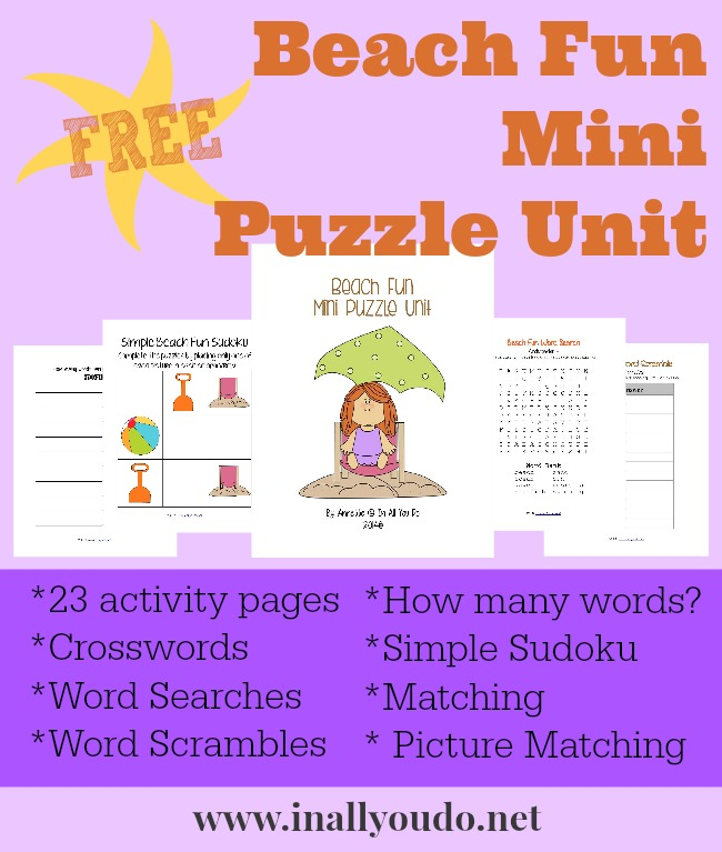 FREE Beach Fun Mini Puzzle Unit