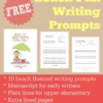 Beach Fun Writing Prompts {free printables}