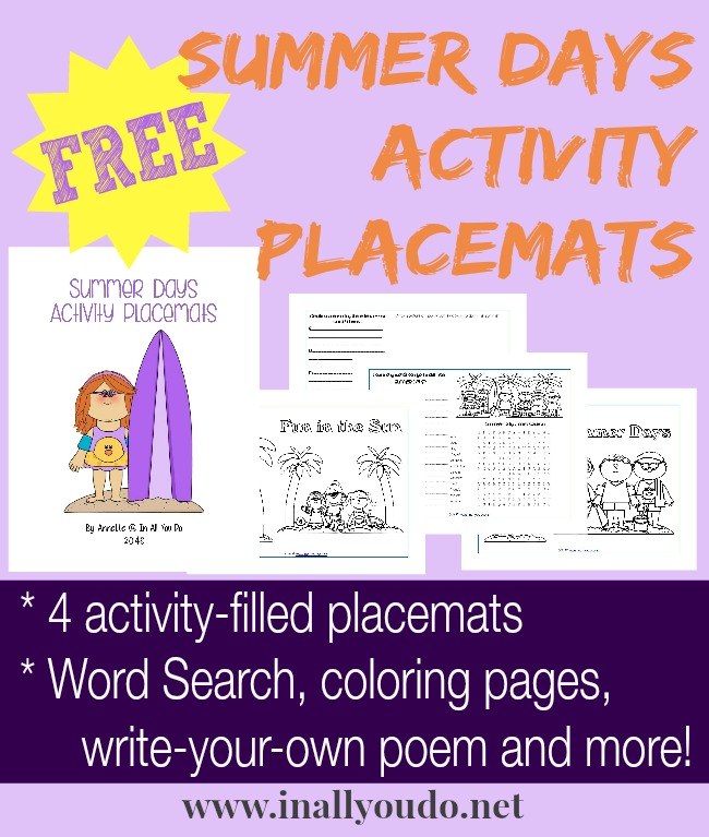FREE Summer Days Activity Placemats