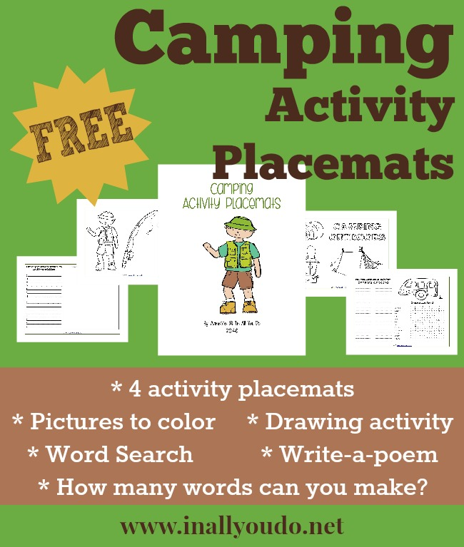 FREE Camping Activity Placemats