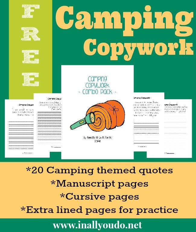 FREE Camping Copywork printables