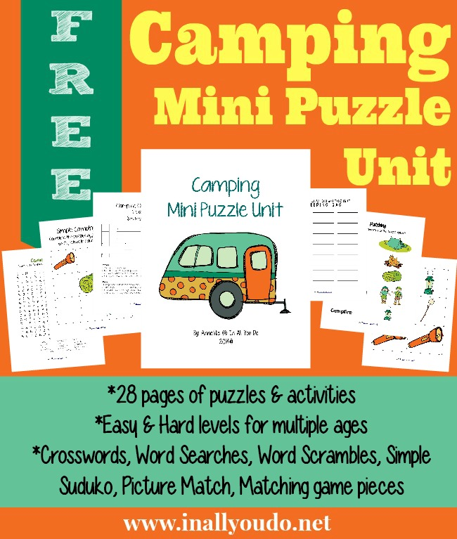 Camping Mini Puzzle Unit {free printables} - In All You Do