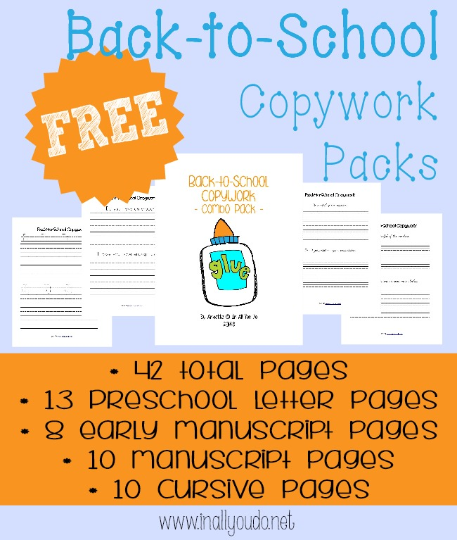 Kids can work on their handwriting through letters or words related to going Back to School with this set of copywork. Includes 42 total pages of copywork for PreK-5. :: www.inallyoudo.net