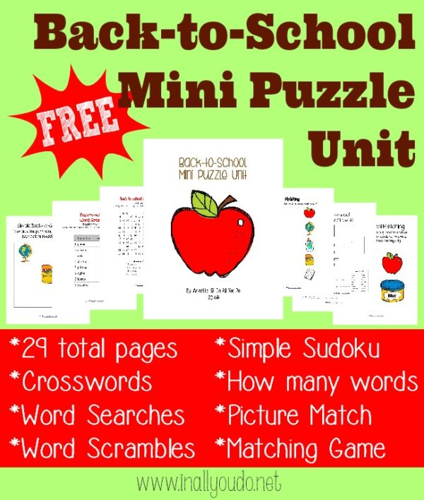 Are your kids ready to go back to school? Get them excited with these fun Puzzles & Activities to celebrate the day...or week! :: www.inallyoudo.net