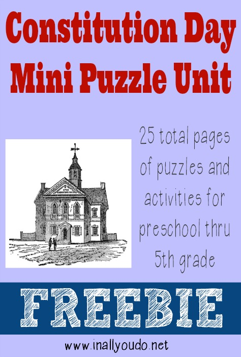 Constitution Day is Sept 17 - Celebrate with these fun and {free} 25 pages of puzzles and activities!