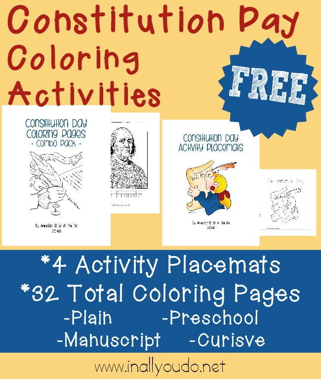 Free constitution day coloring activities for Constitution day coloring pages kindergarten