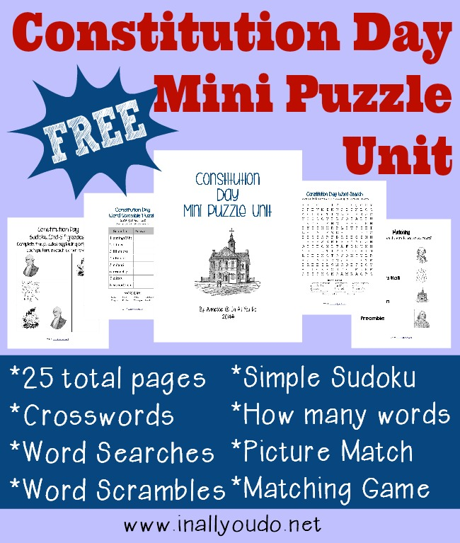 Celebrate Constitution Day, Sept 17, with these fun and {free} 25 pages of puzzles and activities! Includes Crosswords, Word Searches, Picture Match, Matching Game and MORE!!
