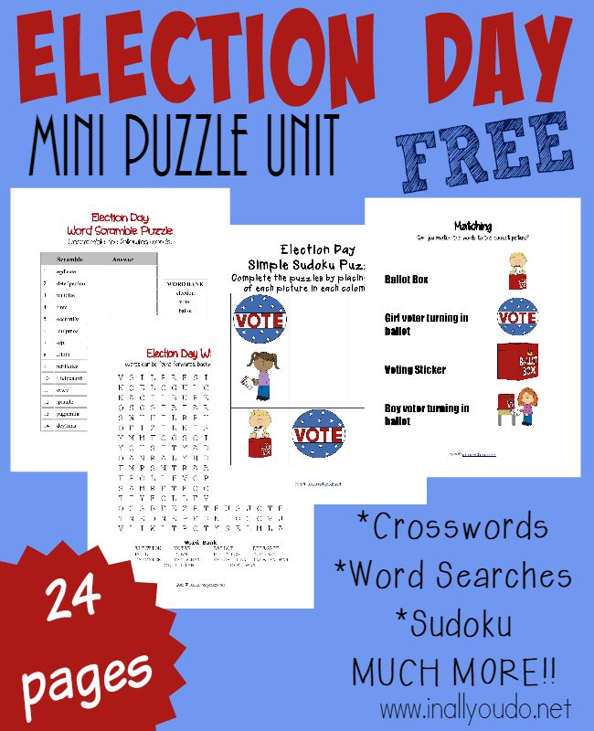free election day puzzles activities. Black Bedroom Furniture Sets. Home Design Ideas