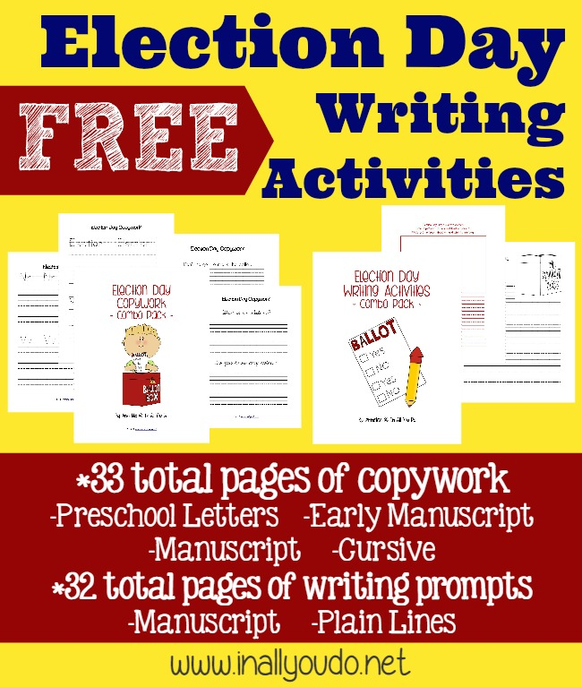 Teach your kids all about Elections with this fun Elections Day Writing Activity Set. 65 pages of copywork and writing prompts.