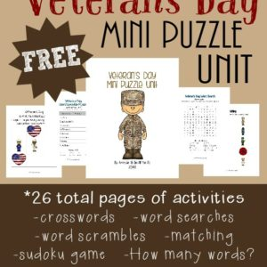 Use these FREE Puzzles & Activities to teach kids about all those who have served in the military this Veterans Day. {26 total pages} :: www.inallyoudo.net