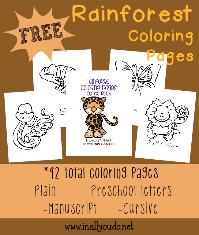 FREE Rainforest Coloring sheets {92 pages}