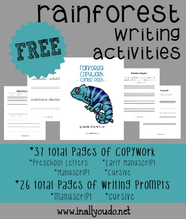 Rainforest Writing Activities {free printables} - In All ...