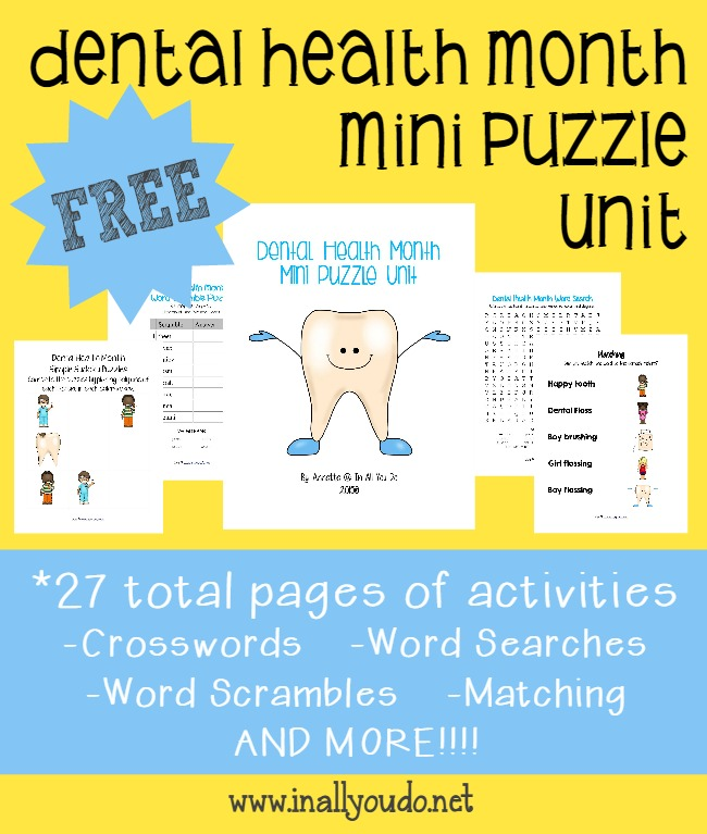 February Is Childrens Dental Health Month Grab These Puzzles And Activities