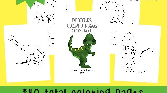 Dinosaur Coloring Pages {40 total pages}