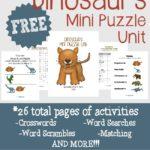 FREE Dinosaur Mini Puzzle Unit {26 pages}