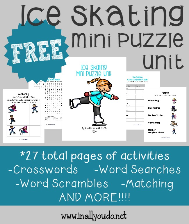 FREE Ice Skating Mini Puzzle Unit {27 pages}