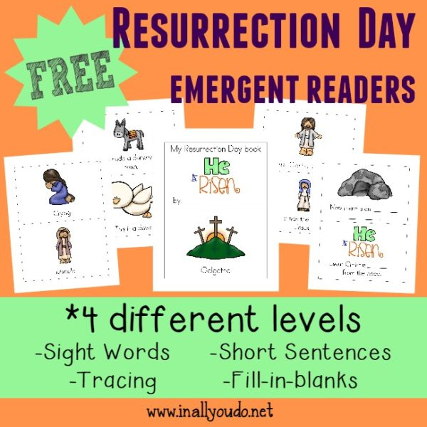 These Resurrection Day Emergent Readers are a great way to introduce kids to the story of the Resurrection!! Includes 4 levels in both color and Black & White!!