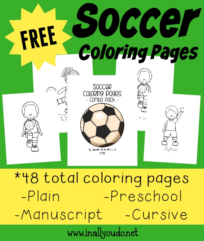These SUPER CUTE and FUN Soccer Coloring Pages are perfect for any soccer lover in your home!! {48 total pages} :: www.inallyoudo.net