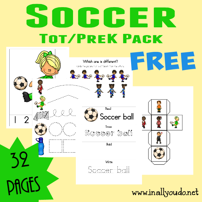 Spring Soccer season is here and this SUPER CUTE Soccer Tot & PreK/K Pack is filled with all types of activities!! {32 total pages} :: www.inallyoudo.net