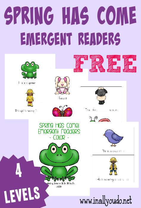 Grab these FUN and SUPER CUTE Spring printable packs!! Tot & PreK Pack includes 33 pages of activities & Emergent Readers include 4 levels!! :: www.inallyoudo.net