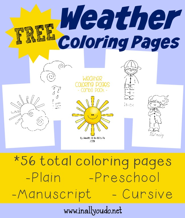 free Weather Coloring Pages with Handwriting Practice