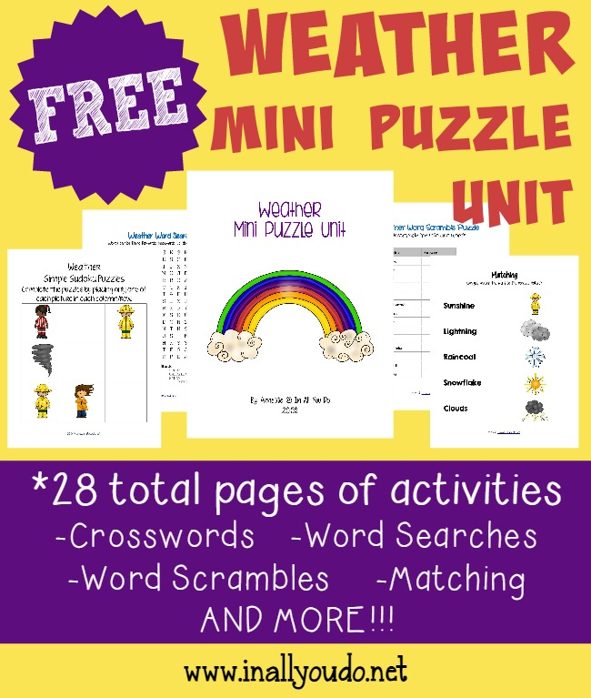 These Fun Weather Themed Puzzles Are Perfect For Kids Just Learning About The
