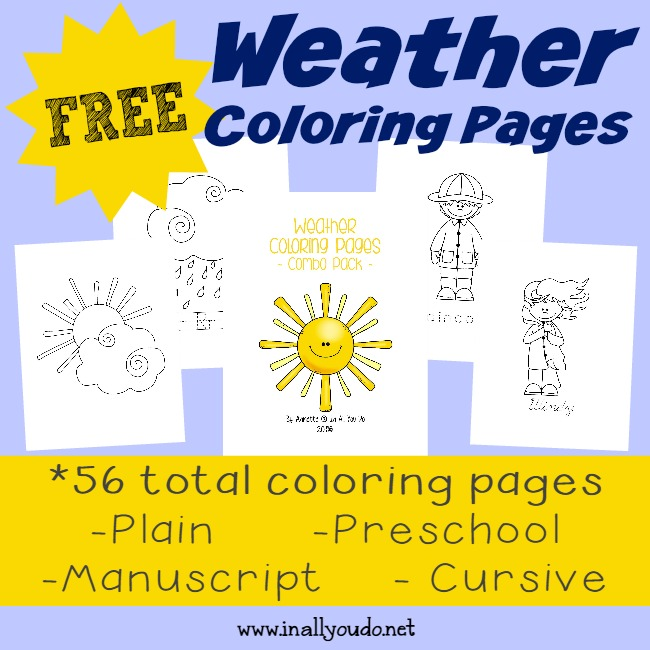 {free} Weather Coloring Pages with Handwriting Practice